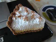 "Should I pin this under ""Crochet"" or under ""Desserts""?  Free Pattern -- Crochet Lemon Meringue Pie Slice - CROCHET"