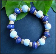 Bead Bracelet - Handcrafted Clay Beads - Coconut Shell - Blue  Handcrafted in Haiti - Bead Jewelry - Ethnic Jewelry - P-203-BL by TropicAccents on Etsy