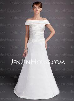 Wedding Dresses - $128.99 - A-Line/Princess Off-the-Shoulder Floor-Length Satin Wedding Dress With Ruffle (002012569) http://jenjenhouse.com/A-Line-Princess-Off-The-Shoulder-Floor-Length-Satin-Wedding-Dress-With-Ruffle-002012569-g12569
