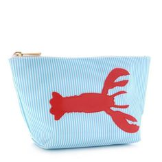 Medium Avery Case in Blue Stripe with Red Lobster by Lolo - FINAL SALE