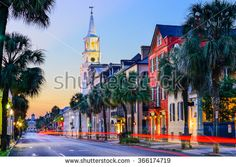 Charleston, South Carolina, USA cityscape in the historic French Quarter at twilight.