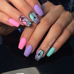 58 Popular nail designs How to choose your perfect nail polish summer nails art - VSCO ROOM Aztec Nail Art, Aztec Nails, Chevron Nails, Geometric Nail Art, Neon Nails, Best Acrylic Nails, Summer Acrylic Nails, Summer Nails, Purple Nail Designs