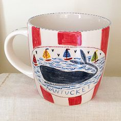 Pottery * 12 oz  Mug * Whale Red