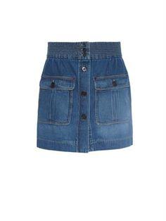 Cotton-denim mini skirt