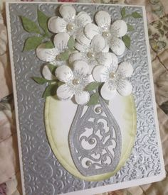 Wedding Card  Used: Stampin' Up card stock; Heartfelt Creations Posy Patch Stamp and Die; Sizzix die and embossing folder; SU Iridescent Embossing powder, Memento ink.