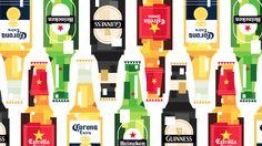 Beer bottles block art