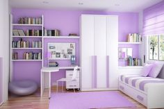 Cute pre-teen girl room. I like how only one wall is purple leaving the remaining white walls to be accented with purple.