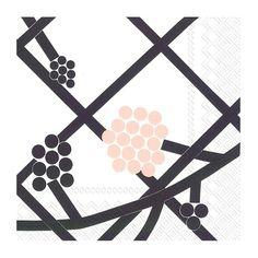 Marimekko Hortensie White/Black/Pink Lunch Napkins