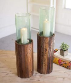 set of 2 green cast iron bamboo candle//tea light  holders