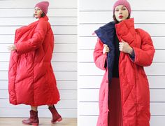 Scandinavian vintage red navy blue original oversized duvet style down puffer padded winter wrap maxi coat S