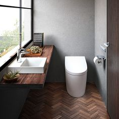 Pin on インテリア Bathroom Toilets, Washroom, Ideal Bathrooms, Restroom Design, Toilet Room, Toilet Design, Japanese House, House Layouts, Kitchen Styling