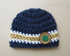 Newborn Hat - Chunky Irish Baby Hat - Blue and Gold Newborn Hat - Photo  Prop - Newborn and 0-3 MO. Notre Dame ... 6ca91b4e9a18