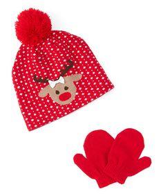 Look at this #zulilyfind! Red Reindeer Beanie & Mittens #zulilyfinds