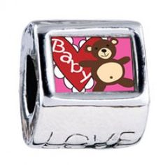 Baby Heart Bear Photo Love Charms  Fit pandora,trollbeads,chamilia,biagi,soufeel and any customized bracelet/necklaces. #Jewelry #Fashion #Silver# handcraft #DIY #Accessory