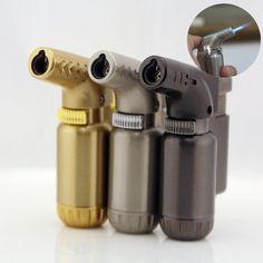 Hot Compact Butane Jet Lighter Torch Lighter Gasoline Fire Windproof Spray Gun Metal Lighter 1300 C NO GAS Cigarette Accessories Cool Lighters, Welding Torch, Gas Lights, Torch Light, Smoking Accessories, Types Of Lighting, Compact, Metal, Silver