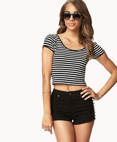 Studded shorts and stripped crop