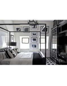 Black-and-white rock 'n' roll photographs line the guest-bedroom walls in Tommy Hilfiger's home.