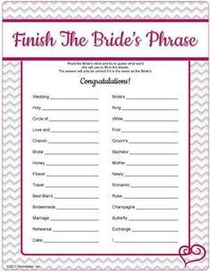 Bridal Shower Activities Ideas
