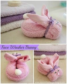 Face Washer Bunny ~ This is a great addition to an Easter or spring basket, Moth. Face Washer Bunny ~ This is a great addition to an Easter or spring basket, Mothers Day or any gift basket with bath salts, scrub, etc. Easter Crafts, Holiday Crafts, Crafts For Kids, Easter Gift, Crafts Cheap, Easter Decor, Easter Baskets, Gift Baskets, Boo Boo Bunny