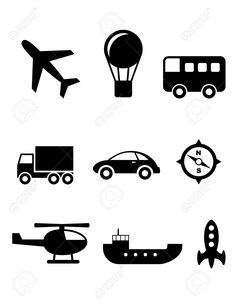 Set Of Nine Silhouette Transport Icons With A Plane, Hot Air ...