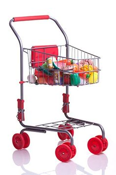 Toy Shopping Carts - MMP Living Pretend Play Shopping Cart w 51 Pcs of Grocery Food Red >>> For more information, visit image link.