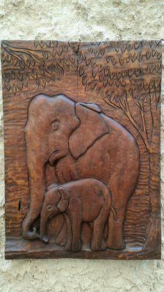 Hand Carved African Wood Elephant, Wall Paneling, Elephant Art, Elephant Wood, Good Luck Symbol, African Elephant, Wood Scalpture