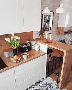 Southern Home Interior Small Kitchen Design Ideas Small Apartment Kitchen, Home Decor Kitchen, Interior Design Kitchen, Kitchen Ideas, Kitchen Living, Small Kitchen Designs, Ikea Small Kitchen, 60s Kitchen, Studio Kitchen