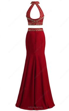 Red Two Piece High Neck Tulle Chiffon Floor Length Beading Open Back  Trumpet Mermaid Long Prom