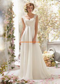 Robes de mariée longue col V mousseline dentelle