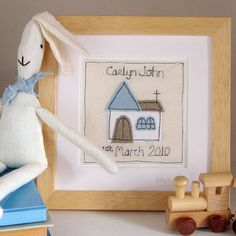 Textile art - perfect embroidered keepsake of the special day Freehand Machine Embroidery, Free Motion Embroidery, Diy Embroidery, Embroidery Hoops, Christening Gifts For Boys, Boy Christening, Baby Baptism, Fabric Postcards, New Baby Cards