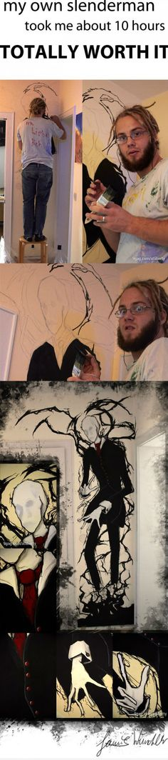 Slenderman painting >> why would someone do this? Do they want to have nightmares???