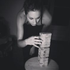 Pin for Later: Celebrity Candids You Don't Want to Miss This Week  Pretty Little Liars star Troian Bellisario looked really focused during a game of Jenga. Source: Instagram user sleepinthegardn