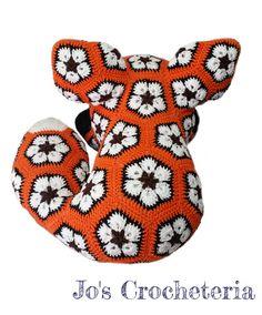 Megan the African Flower Fox Crochet Pattern by Jo's