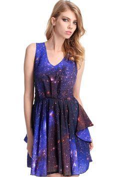 ROMWE | Galaxy Print Dress, The Latest Street Fashion