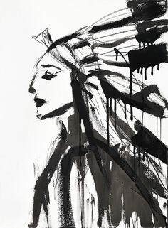 Chief (Female) by Jenna Snyder-Phillips Print + Art DIY Inspirations + Western + Rustic + Lodge Décor + American Indian + Black and White + Lake House + Cabin