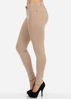 Colored Skinny Jeggings (Beige)
