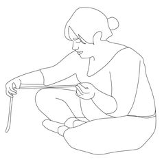 Woman Sitting Crafting
