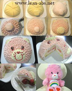Care Bear Cake (Tutorial in Japanese) Fondant Flower Cake, Fondant Rose, Fondant Cakes, Cupcake Cakes, Fondant Baby, Fondant Figures, Pretty Cakes, Cute Cakes, Beautiful Cakes