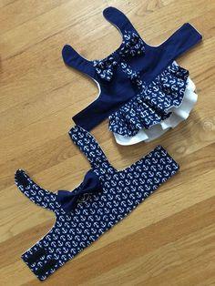 Nautical Theme Dog Harness Dress – Dog Harness Vest Bruder / Schwester koordinieren Hundegeschirr Kleid This image has get. Dog Clothes Patterns, Sewing Patterns, Puppy Clothes, Girl Dog Clothes, Dog Items, Dog Pattern, Dog Sweaters, Girl And Dog, Dog Dresses