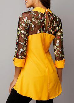Keyhole Back Lace Panel Turndown Collar Blouse Trendy Tops For Women, Evening Tops, White Maxi Dresses, Collar Blouse, Plus Size Swimwear, Muslim Fashion, Fashion Dresses, Womens Fashion, Fashion Design