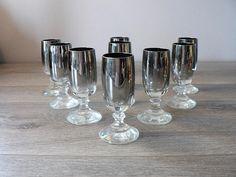 Mid Century Modern Silver Ombre Stemmed Shot Glass Set of 9