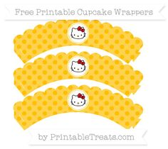 Free Amber Polka Dot  Hello Kitty Scalloped Cupcake Wrappers