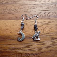 Howl At The Moon: Asymmetrical Triangle Cut Blue Goldstone, Silver Wolf and Silver Moon Earrings on Etsy, $7.67 CAD