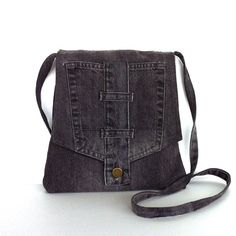 Small crossbody bag Recycled gray jean messenger bag Travel purse Side bag Denim sling purse Upcycled shoulder purse Cross body bag