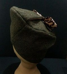 Vintage 1940's reproduction - handmade tweed hat/beret