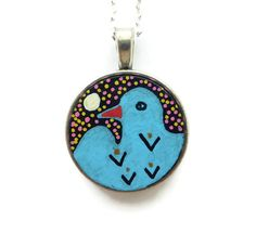 Hand painted and original bird necklace - only available once and through my website!  http://ejc-wildart.co.uk/wpbase/product/bird-art-necklace-pendant-hand-painted-jewellery/