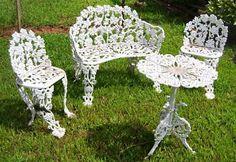 Wrought iron patio furniture sets - ideas on foter Wrought Iron Outdoor Furniture, Wrought Iron Bench, Vintage Patio Furniture, Metal Patio Furniture, Garden Furniture, Antique Furniture, Furniture Ideas, Furniture Styles, Furniture Market