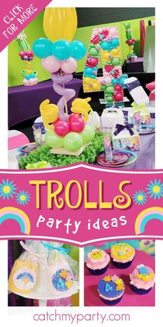 Check out this cute Trolls birthday party! The cupcakes are fantastic! See more party ideas and share yours at CatchMyParty.com #catchmyparty #partyideas #trolls #trollsparty #girlbirthdayparty Trolls Birthday Party, Girls Birthday Party Themes, Birthday Drinks, Troll Party, Party Drinks, 3rd Birthday, Party Favors, Birthday Parties, Ideas Para Fiestas