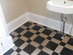 Built in bookshelves in hallway bathroom with industrial vct tile laundry room makeover ppazfo