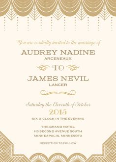 "Cream & Gold-Toned Wedding Invitation - ""Vintage Glamour"" - Designed by Lauren DiColli Hooke"